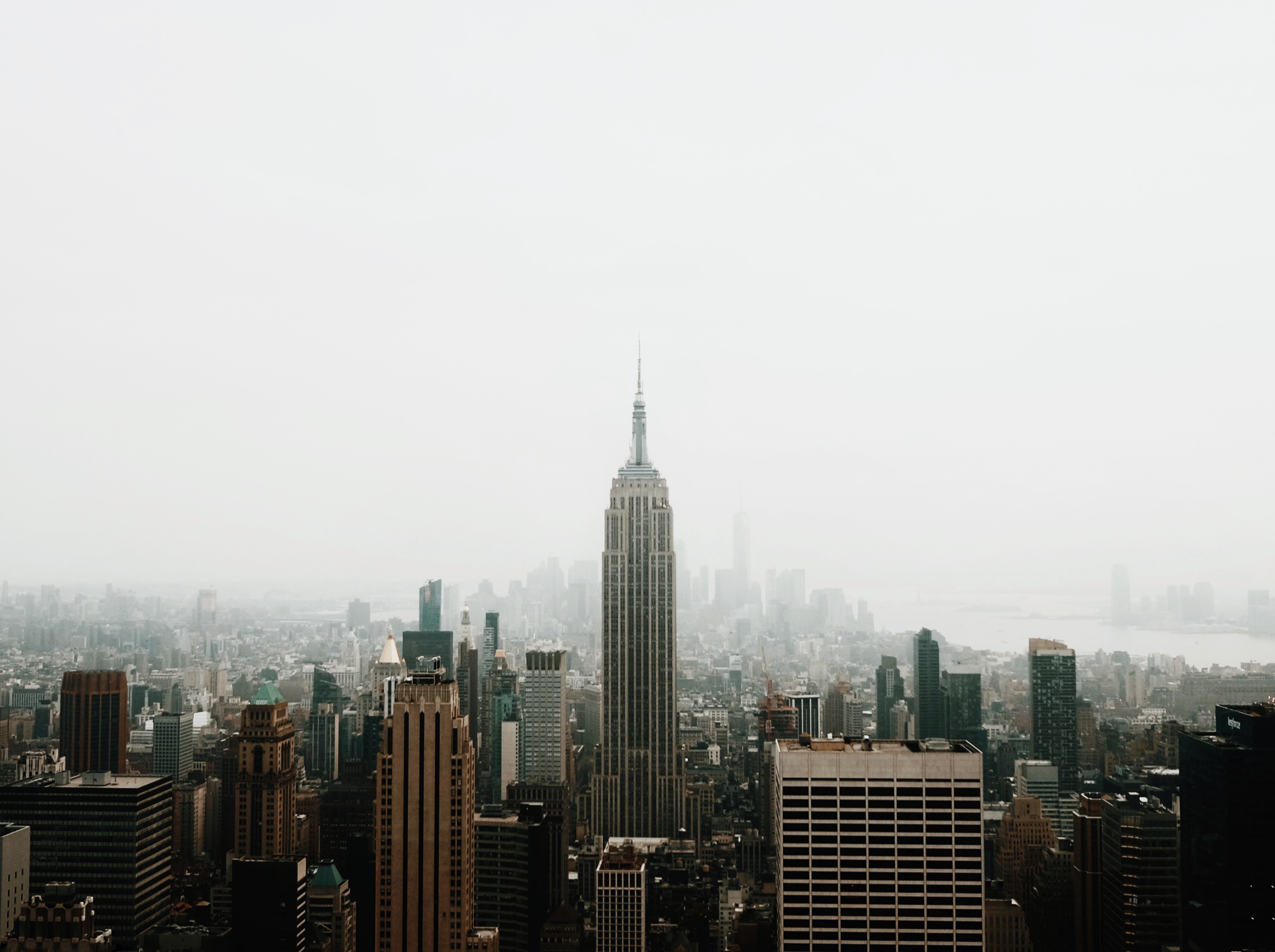 The Empire State Building and New York City skyline on a foggy day