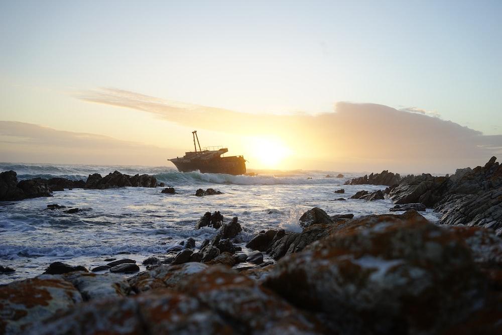 ship near shore