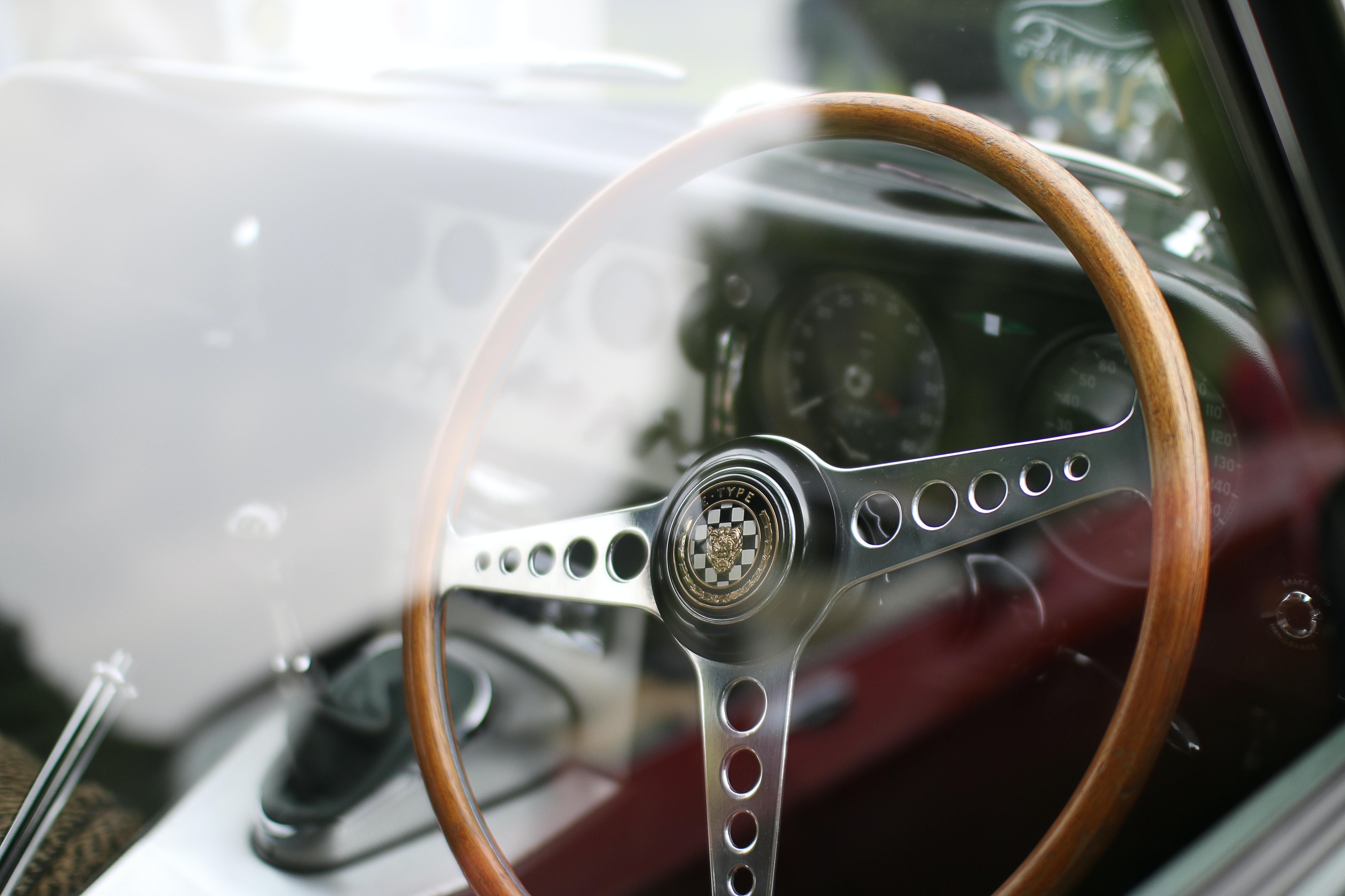 brown and gray car steering wheel