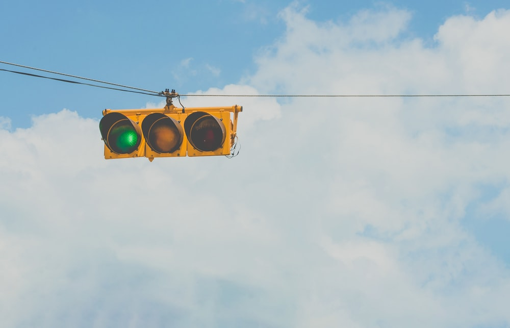 traffic light at yellow