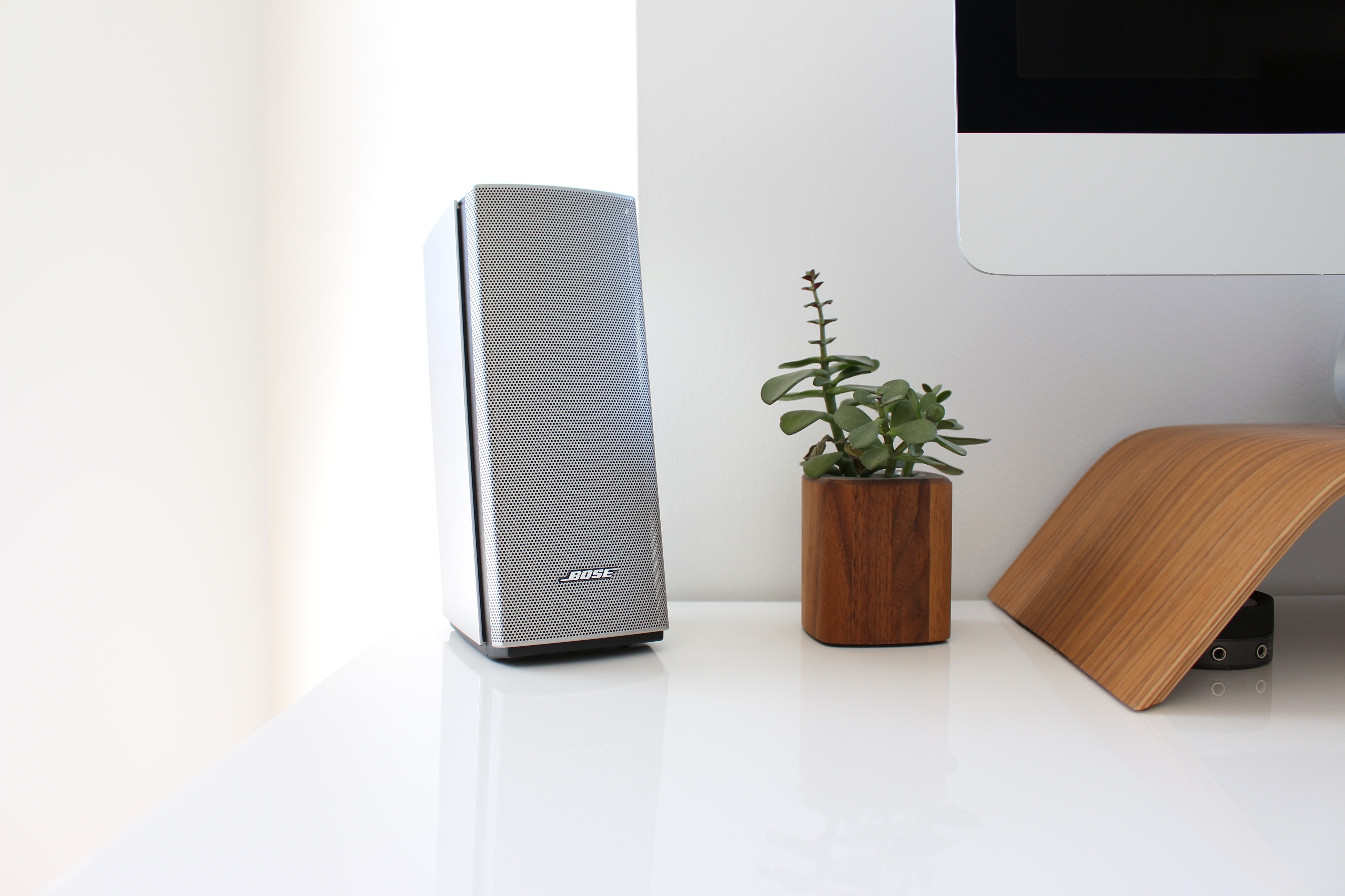 A tall gray loudspeaker and a small plant in a wooden flower pot beside a computer screen