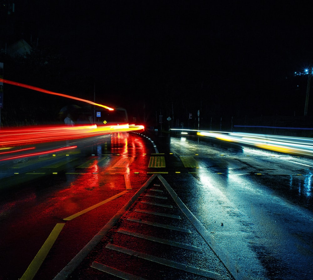 photo of time lapse road during night time
