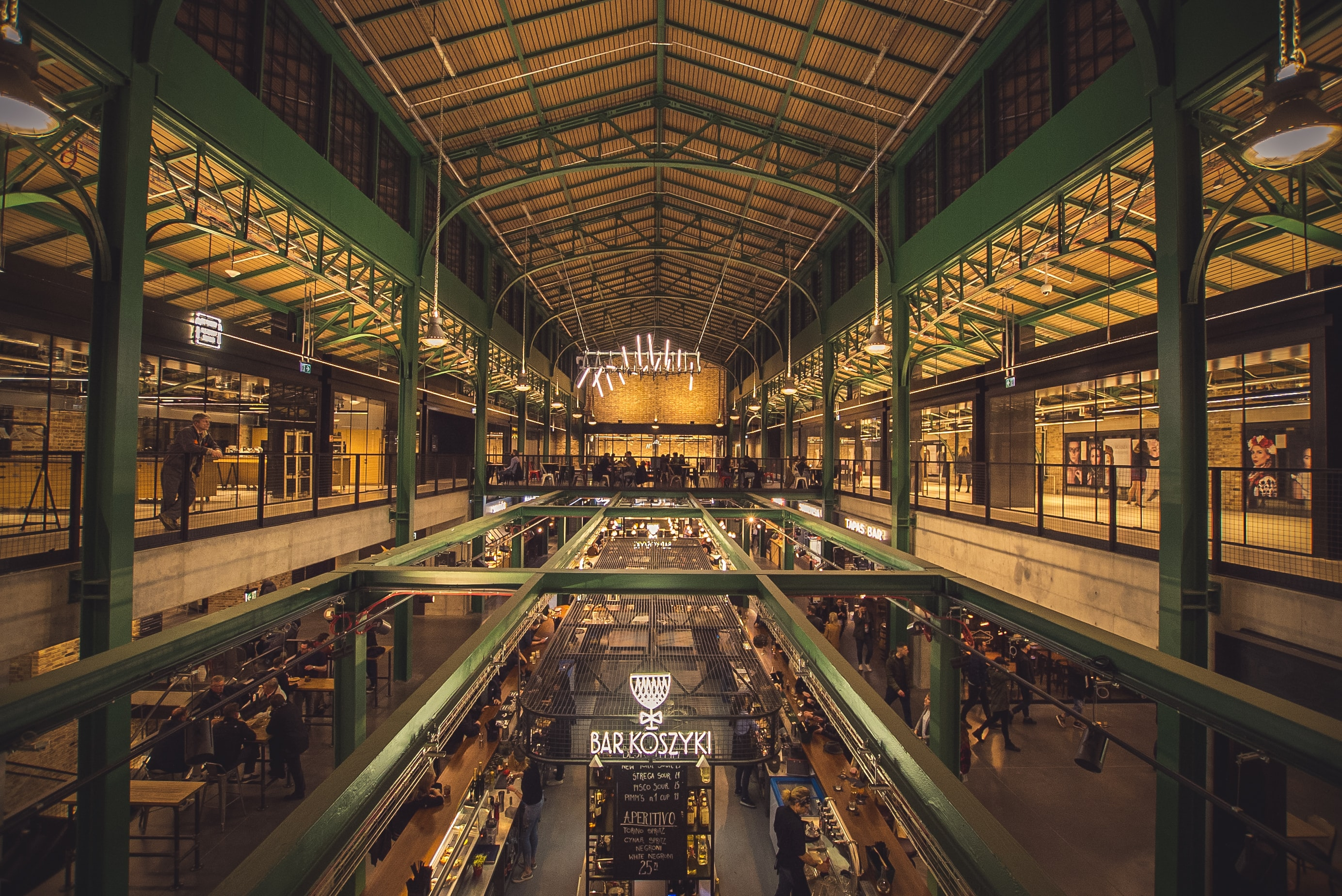 The interior of a market hall in Warsaw