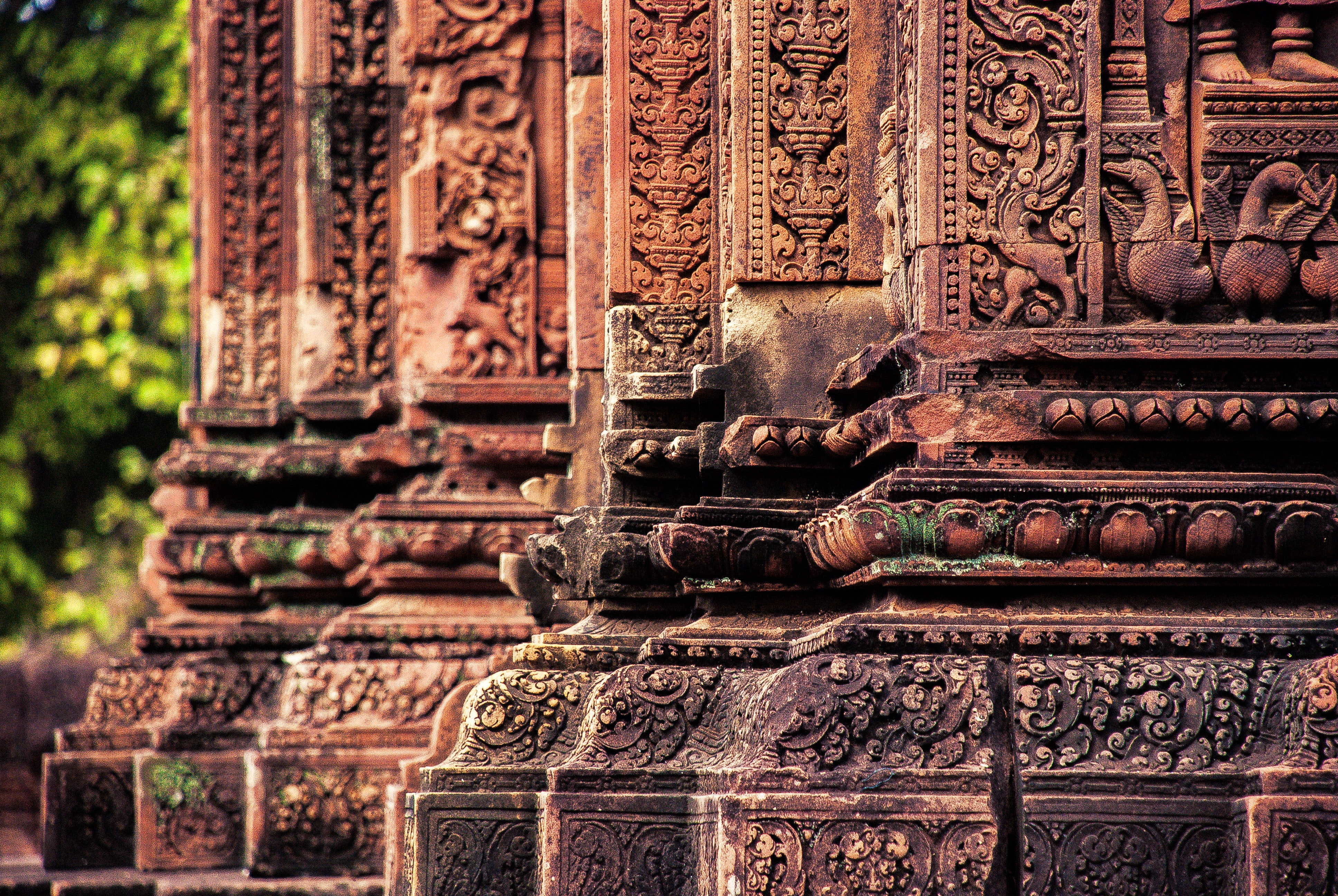 A temple that is etched with an intricate design in Banteay Srei