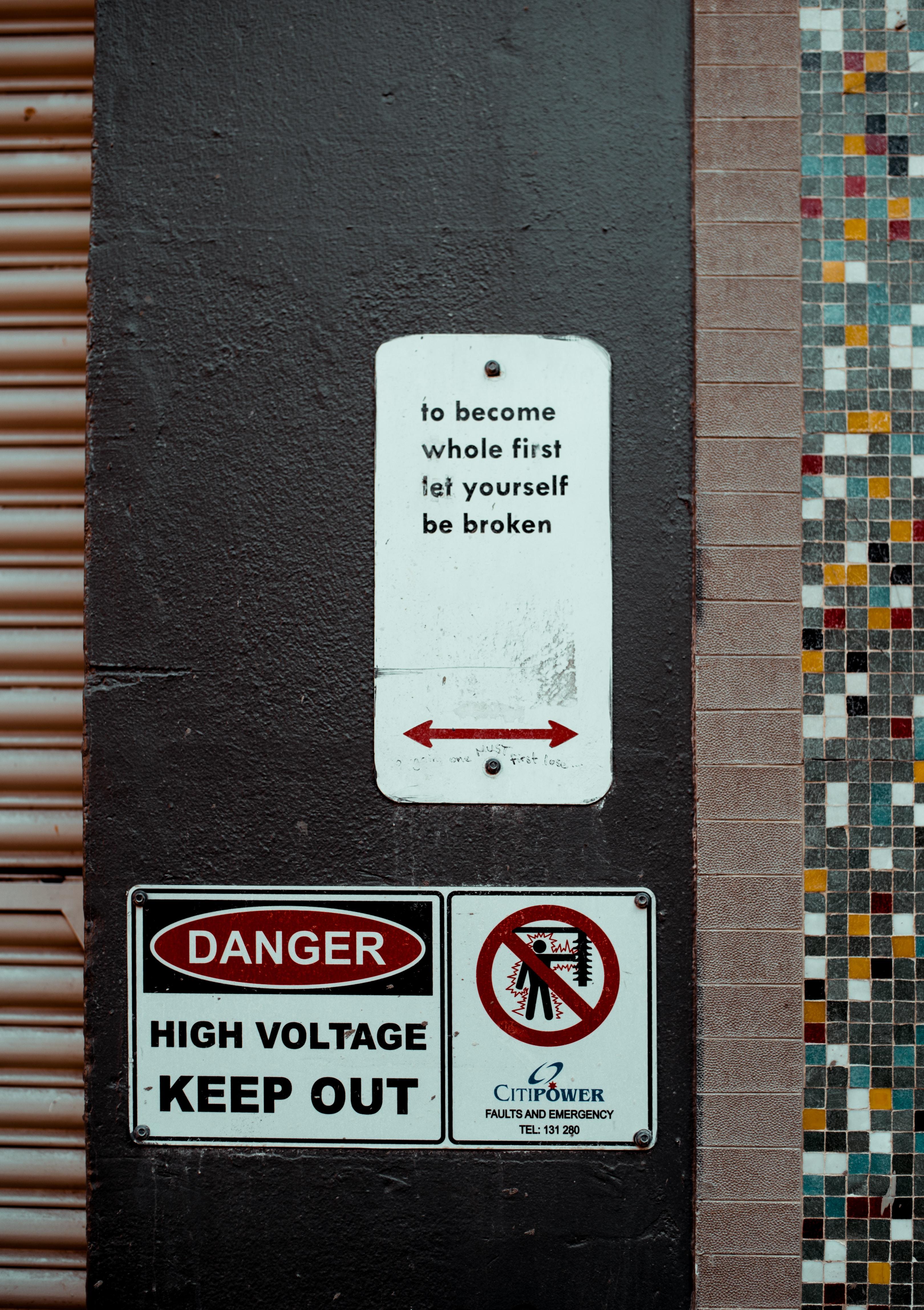 danger high voltage keep out signage