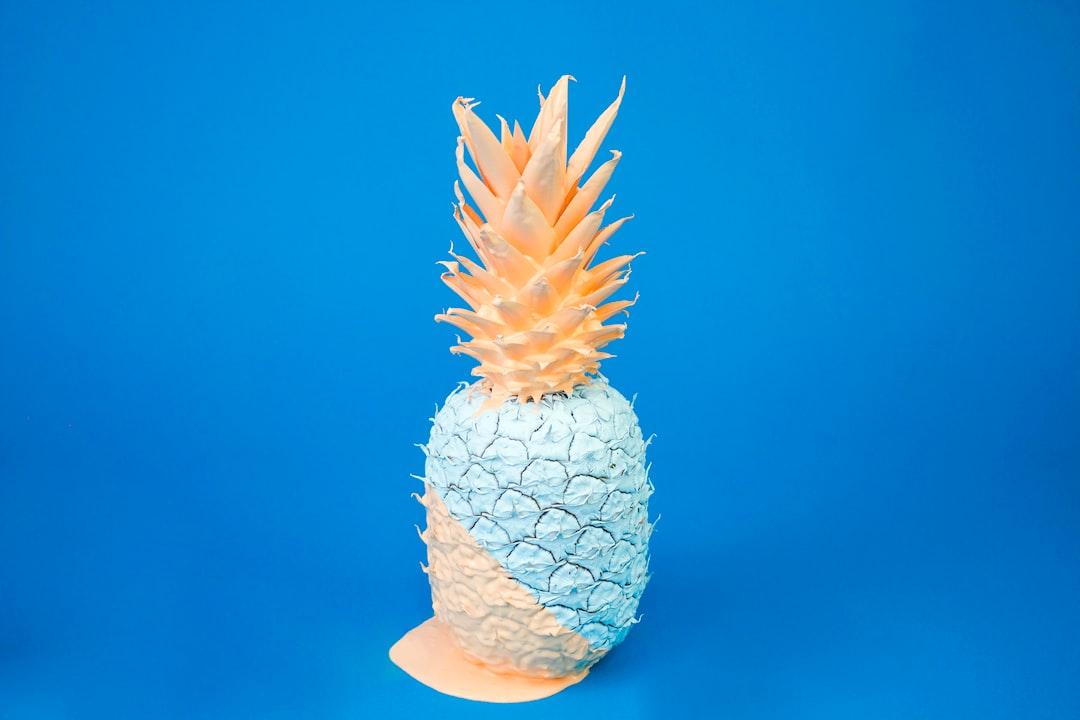 teal and orange pineapple decor