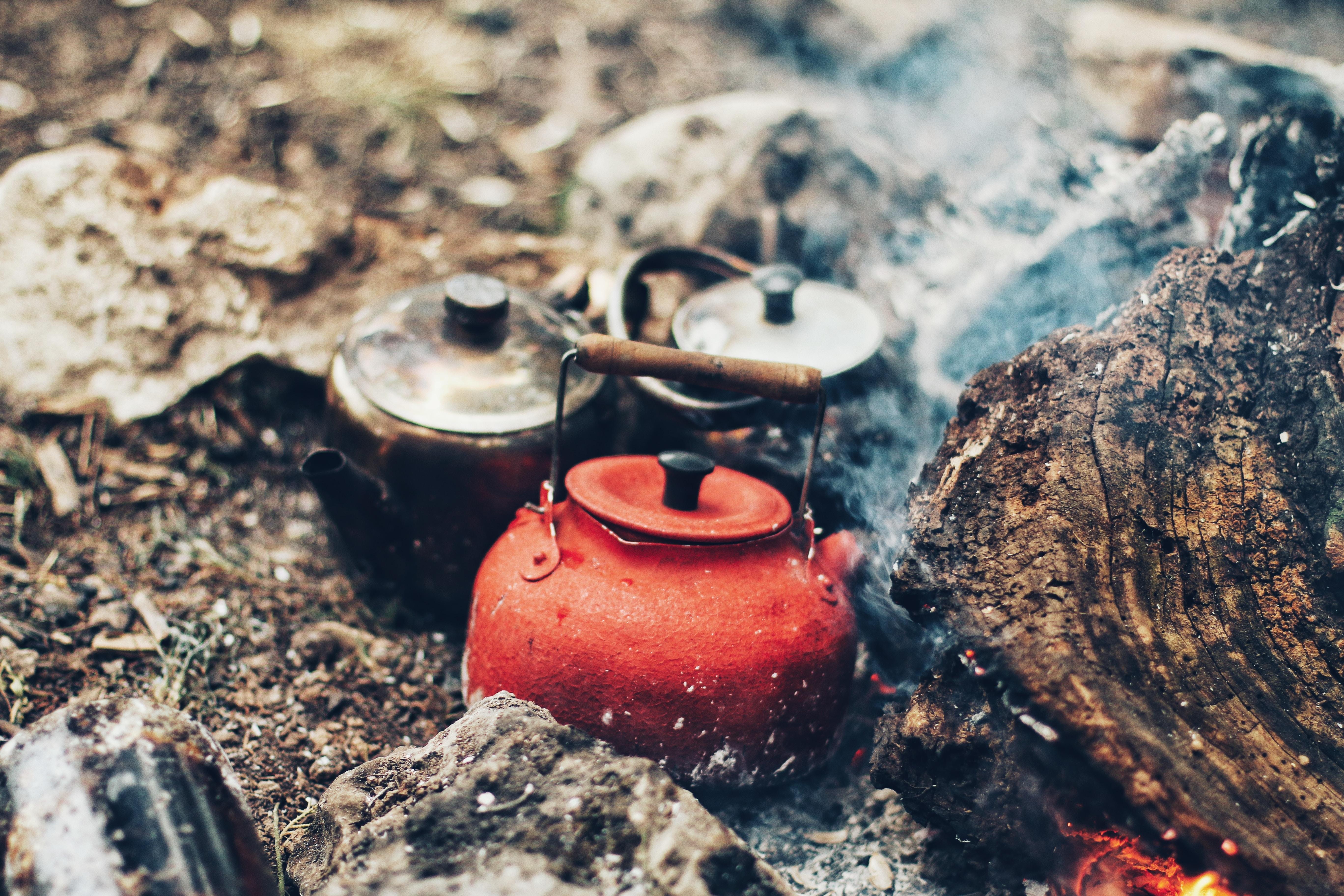 Vintage rustic teakettle head up near stack of firewood outside