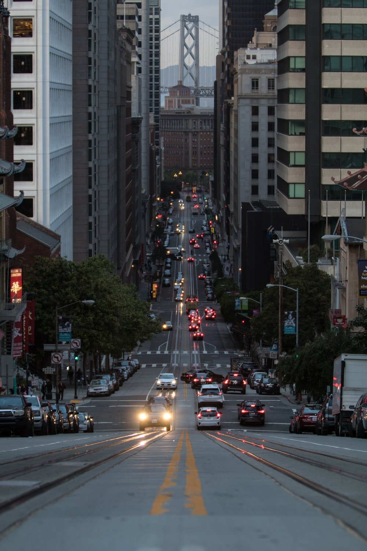 photo of roadway between buildings