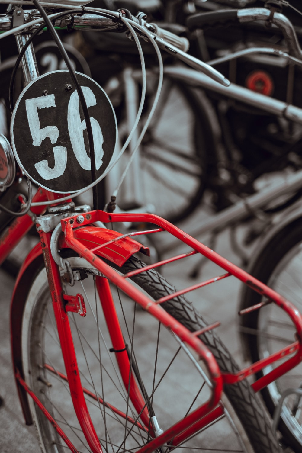 red bicycle with number 56