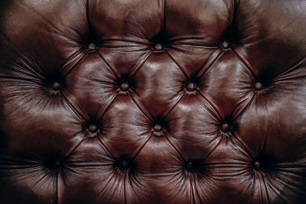A macro shot of leather cushions at Brooks Brothers clothing and apparel store