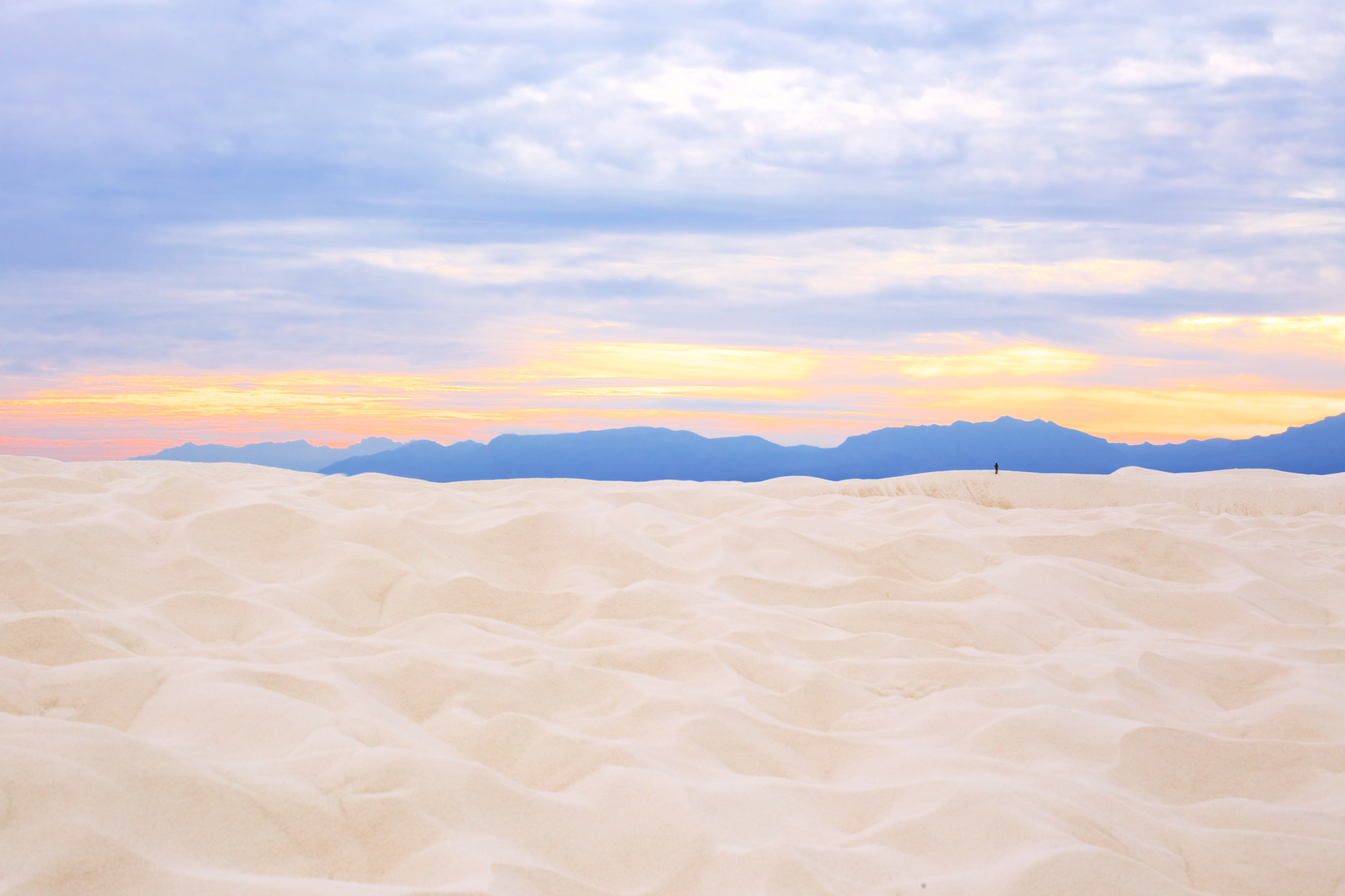 White sands meet a colorful horizon in White Sands Visitor's Center