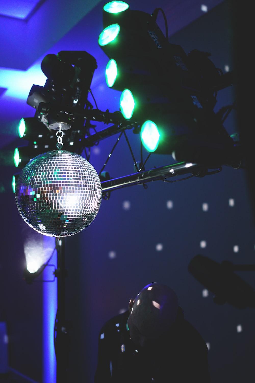 silver disco lights