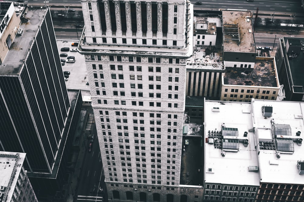 aerial photography of gray concrete buildings