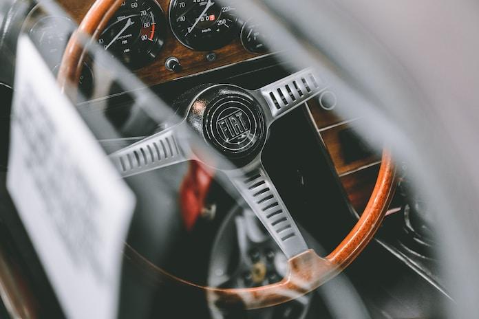 black and grey FIAT car steering wheel