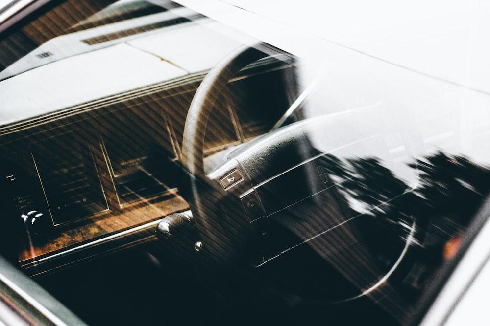 black car steering wheel