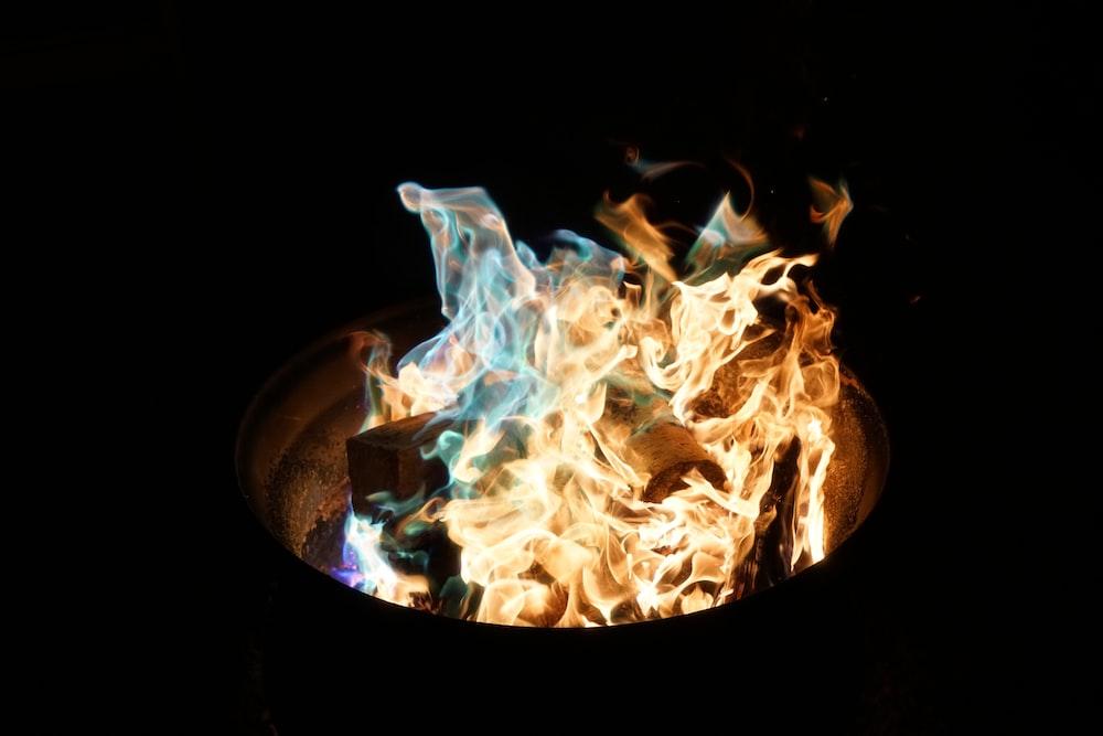 fire burning in barrel