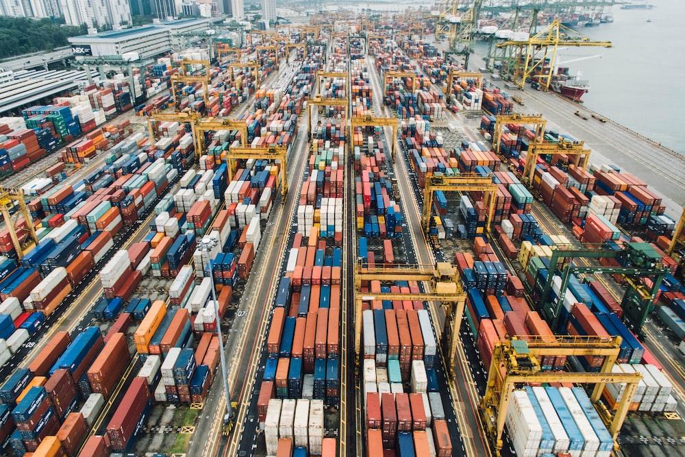 aerial photo of cargo crates