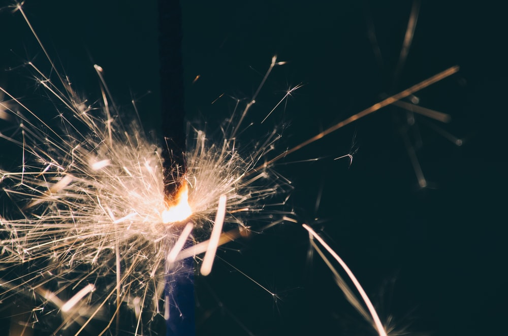 close-up photography of sparkler