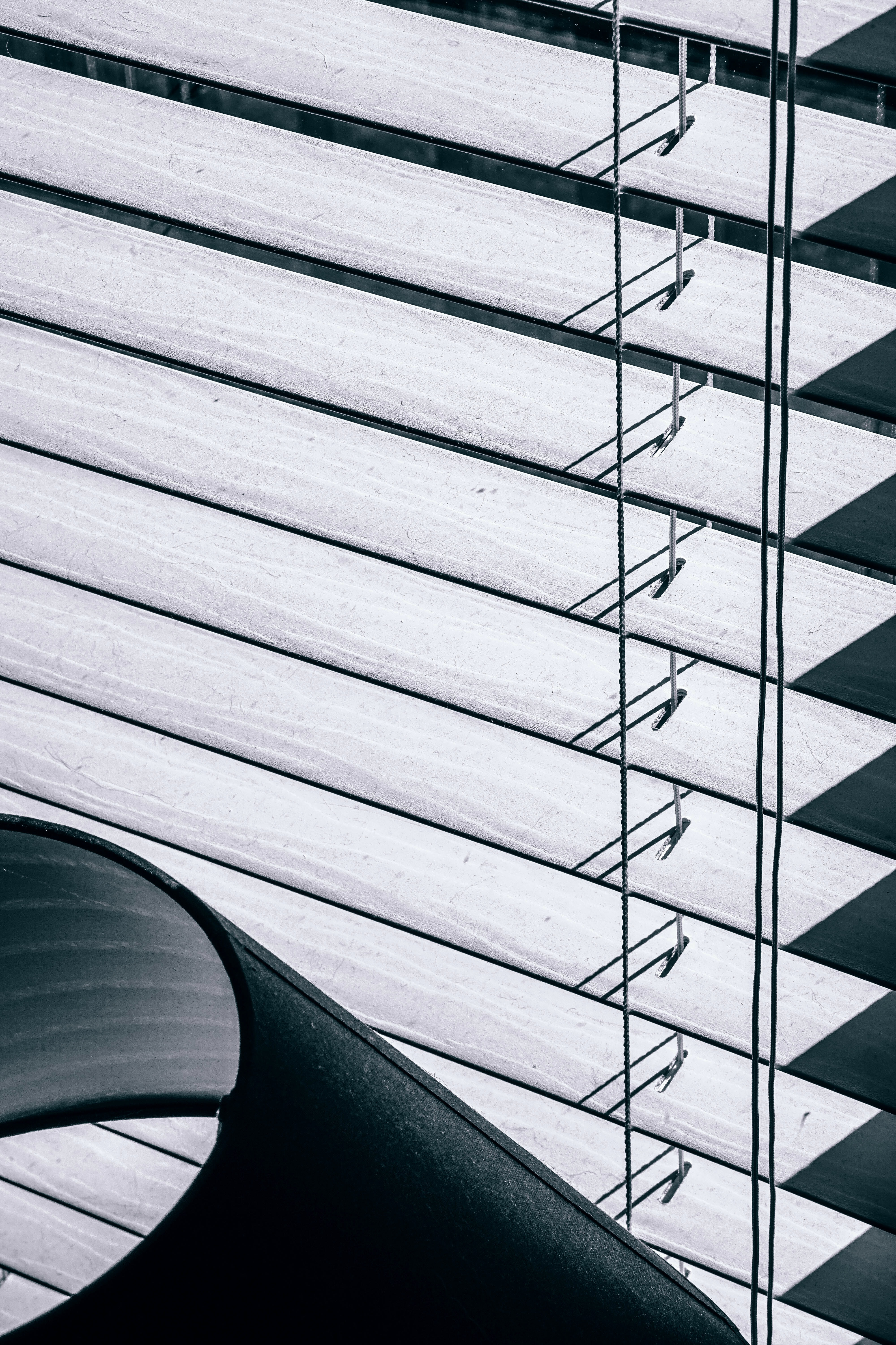 Close-up of dusty shutter blinds