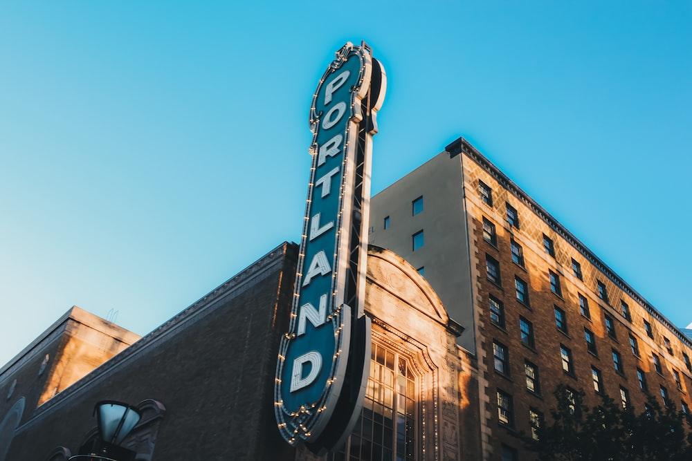 low angle photography of Portland LED signage