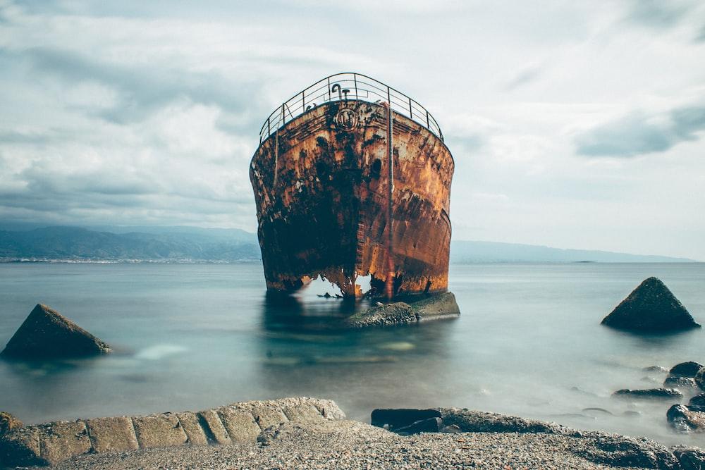 shipwreck near seashor