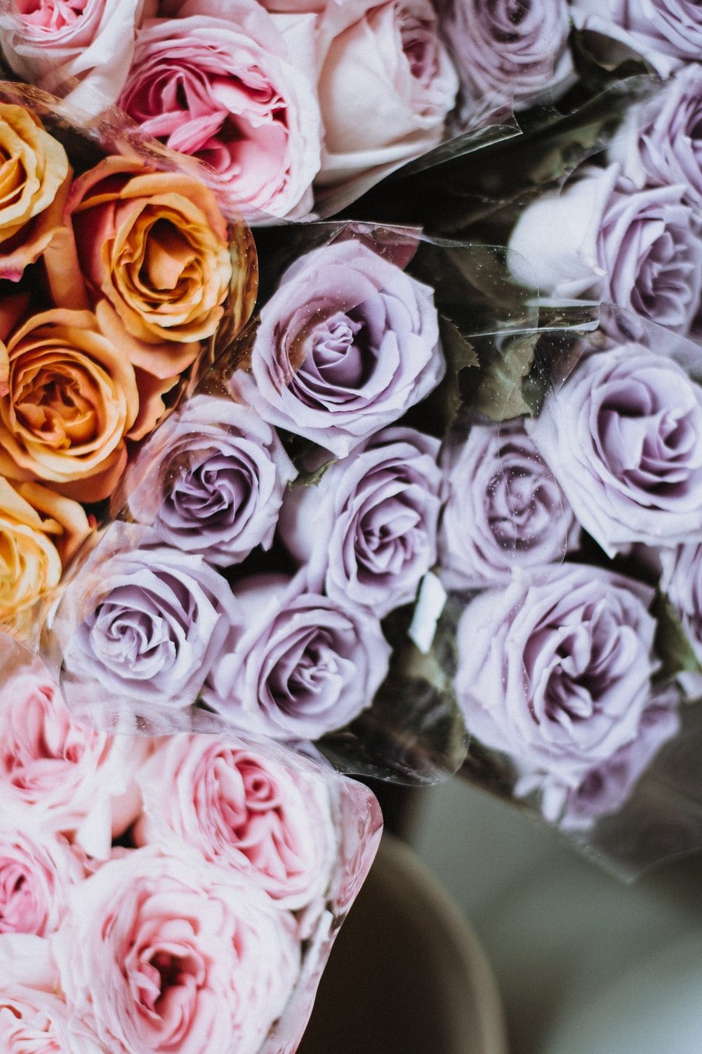 bouquet of different colored roses