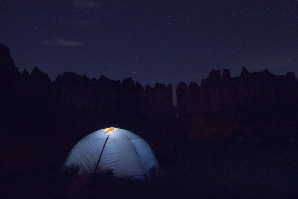 white dome tent in chiaroscuro photography