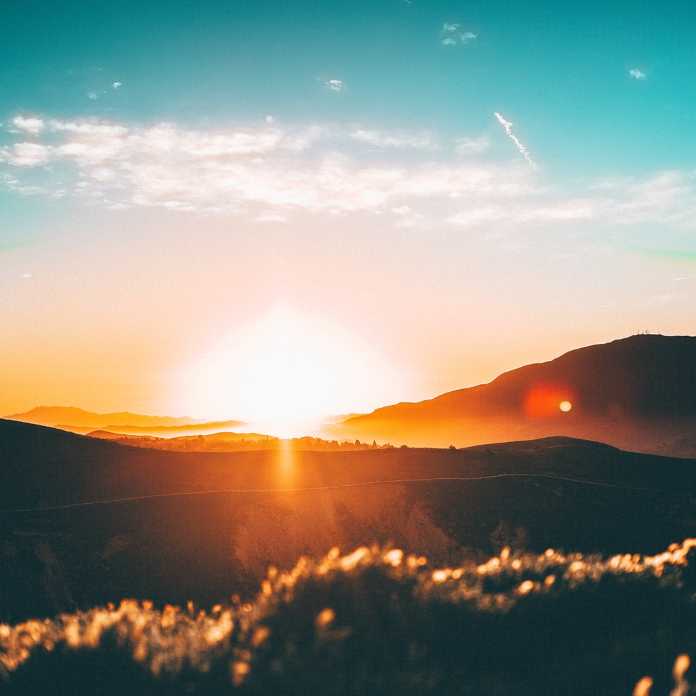sunset over the horizon