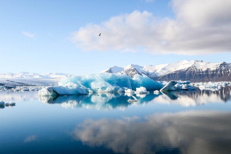 Iceland ring road camper van - glacier lake
