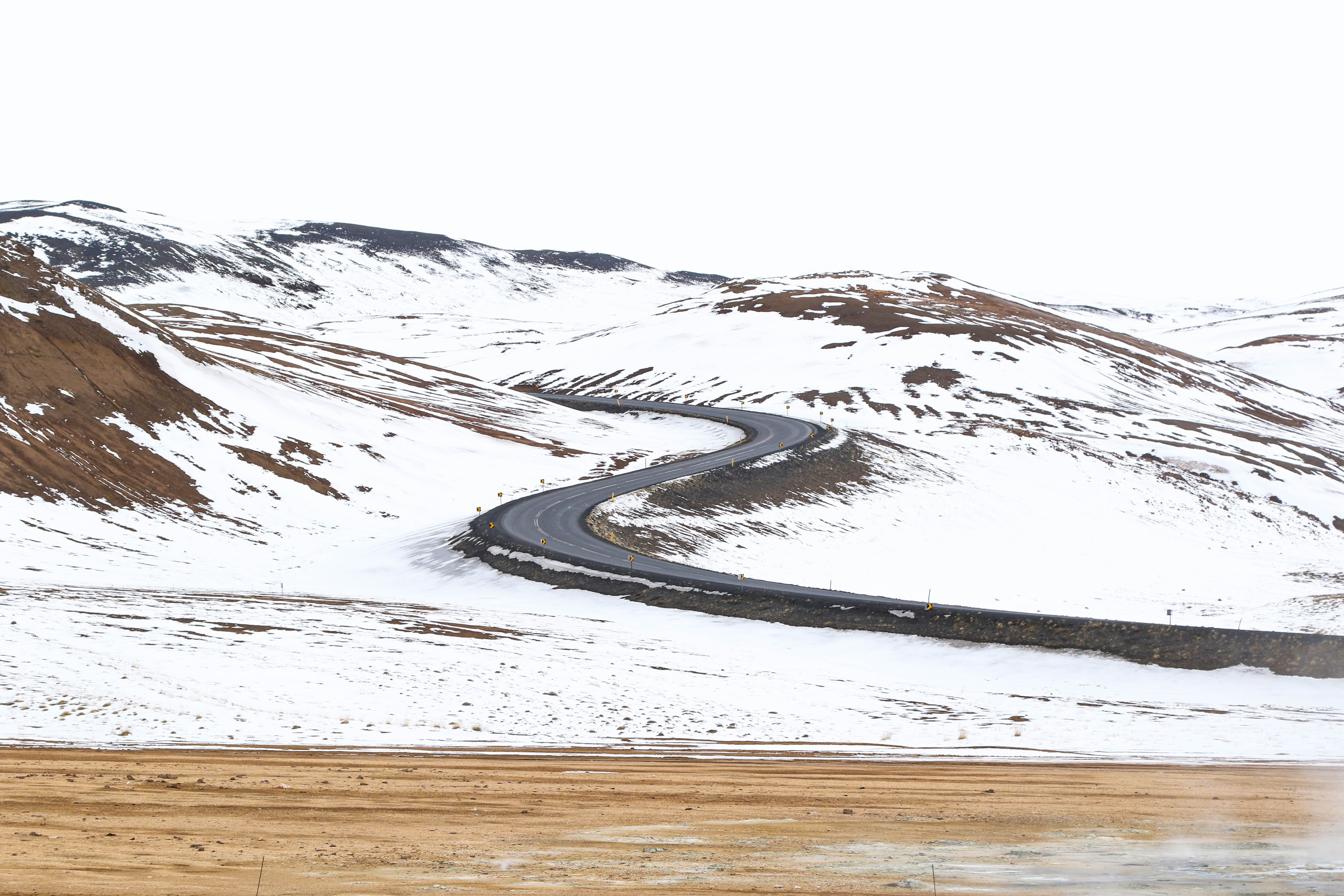 A bendy highway road located in Mývatn