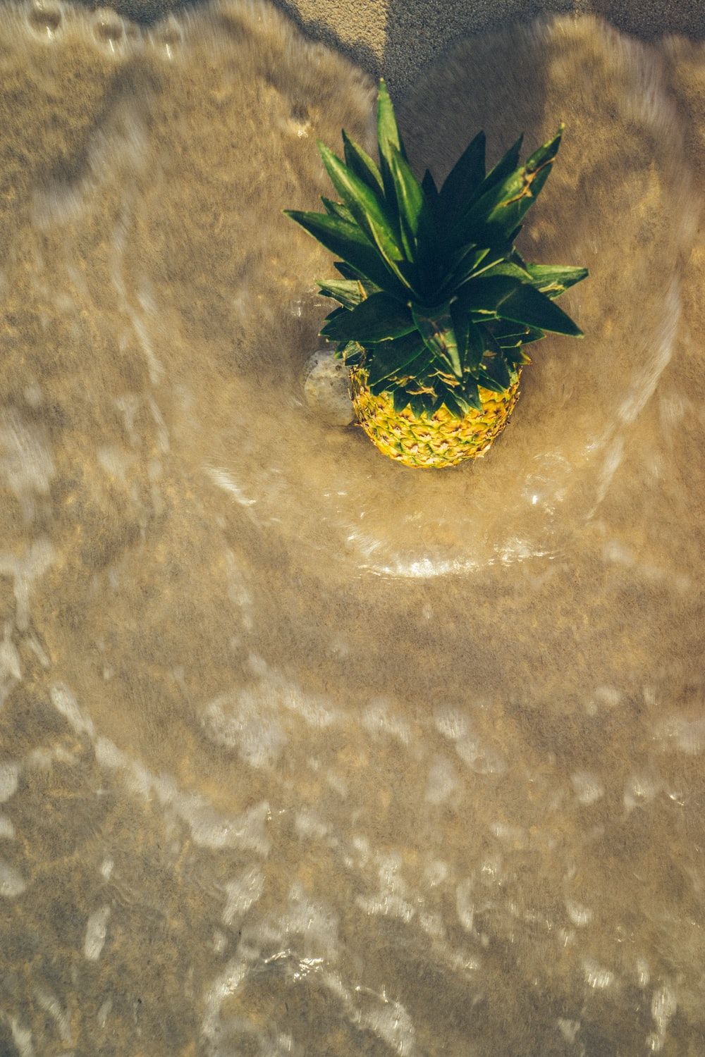 pineapple on brown surface