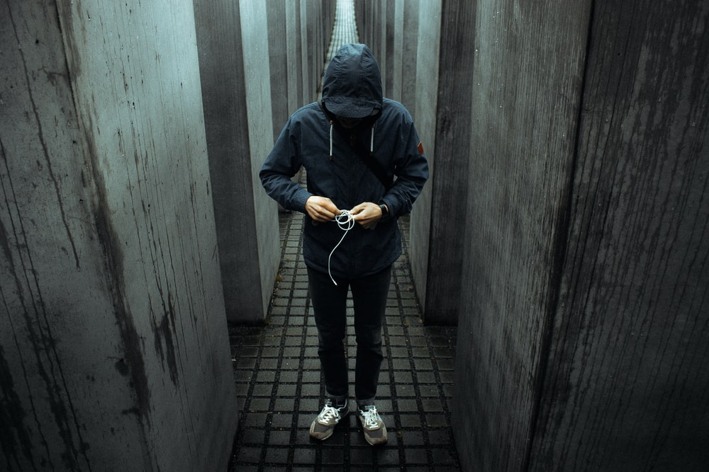 photo of person wearing black pullover hoodie