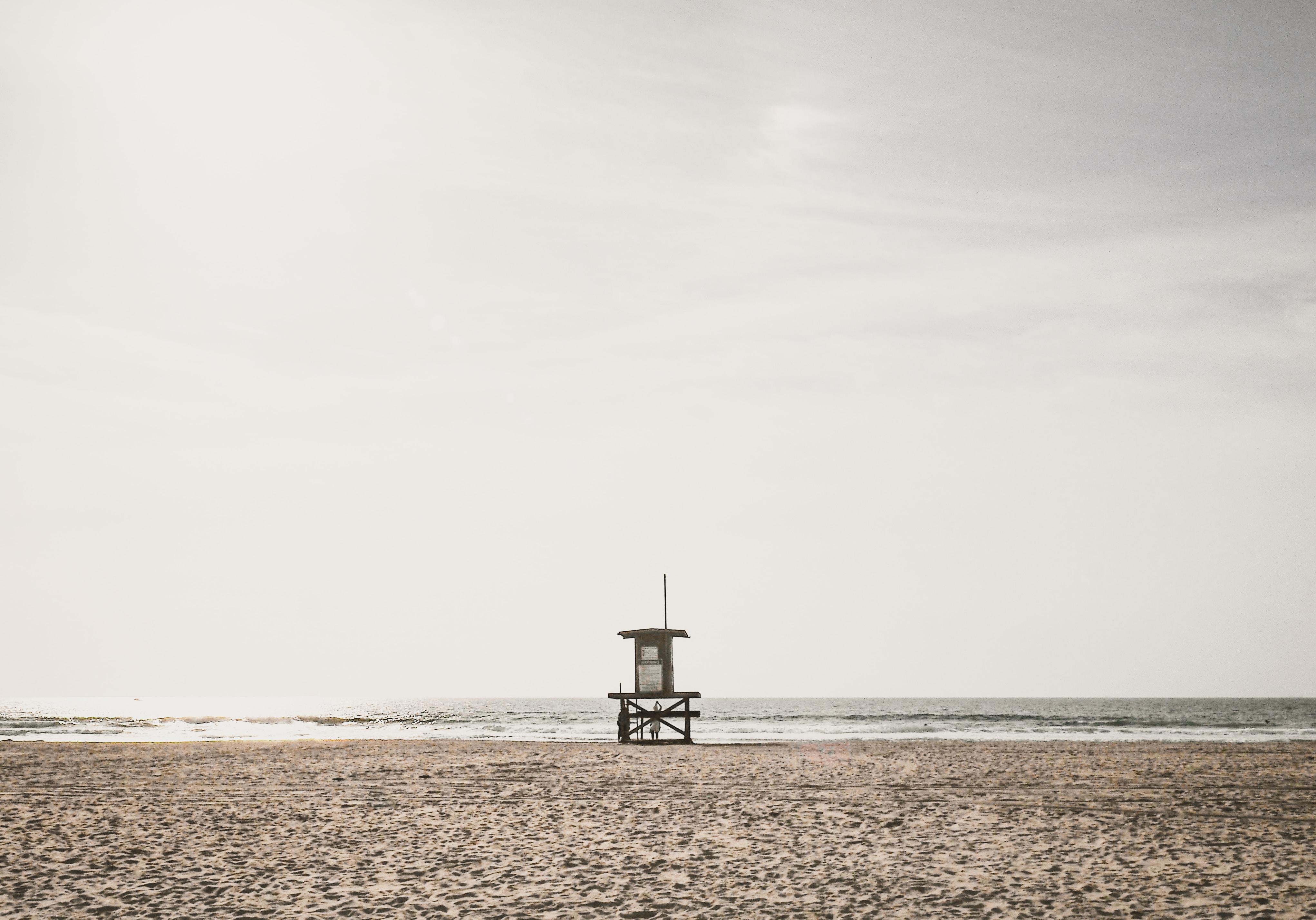 photo of lifeguard station near shoreline