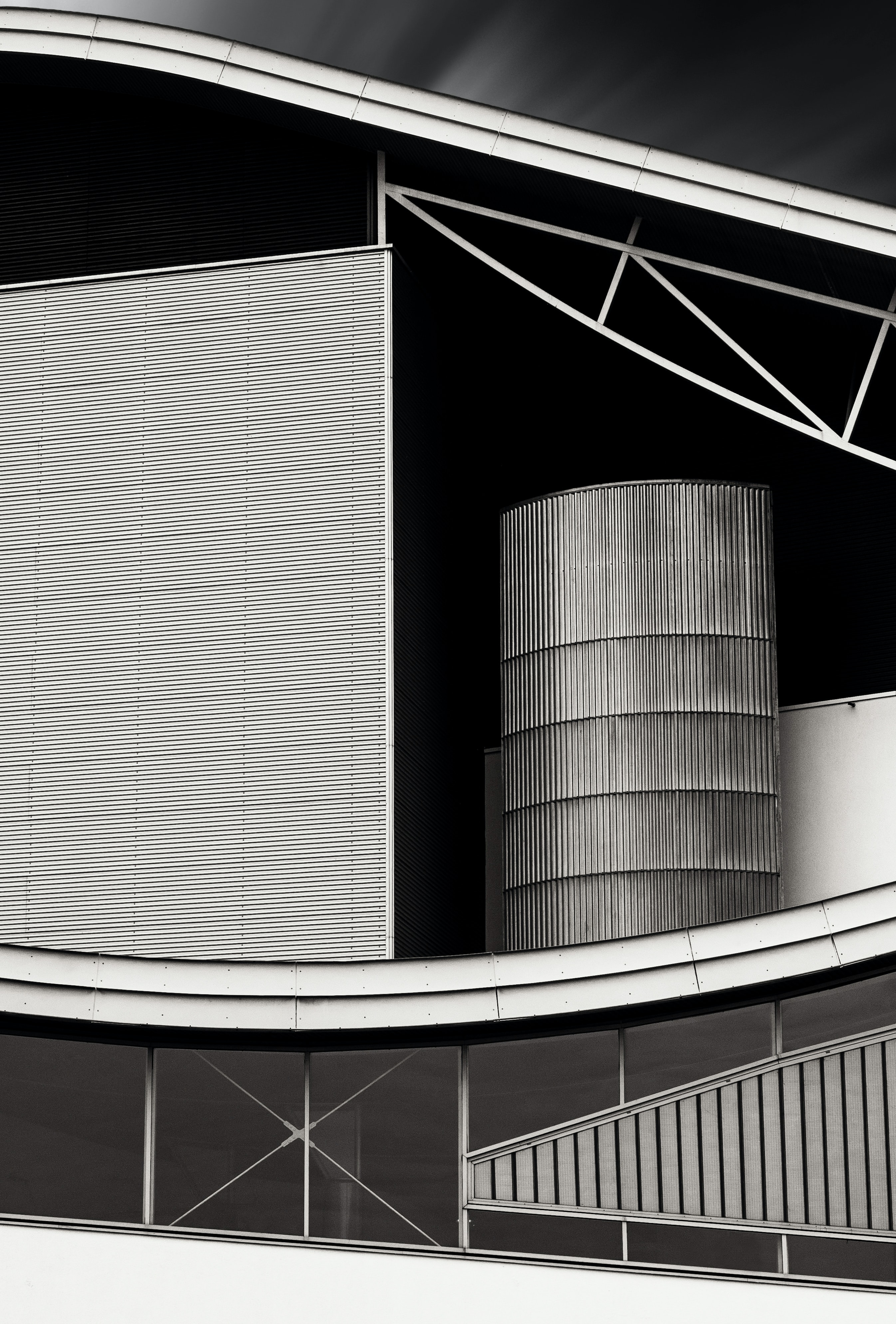 Black and white shot of modern abstract urban building architecture