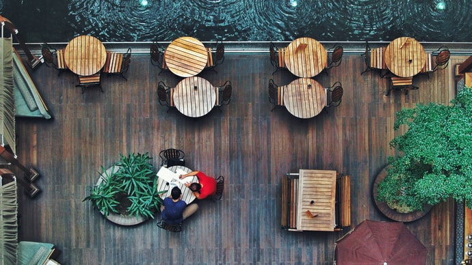 A top-down view of the riverside dinning area.