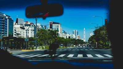 dashboard view of pedestrian crossing