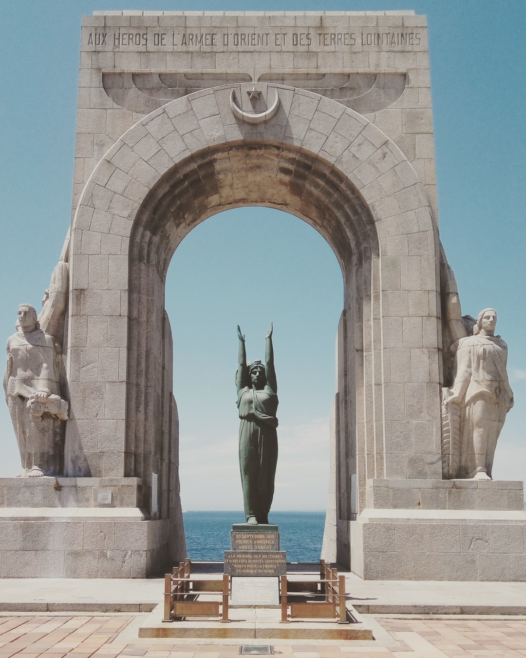 The Porte d'Orient, or The Oriental Door) - represents the thousands of French-African Colonial soldiers who left from the shores of Marseille to fight in the the Orient during World War I.   This marked an important and significant moment in my journey through and across Europe on my bike. I had just cycled the length of France, and subsequently collapsed in an exhausted heap infront of the arch after I took this photo.