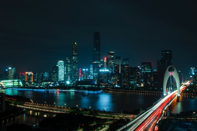 landscape photography of bridge near high-rise buildings long exposure teams background