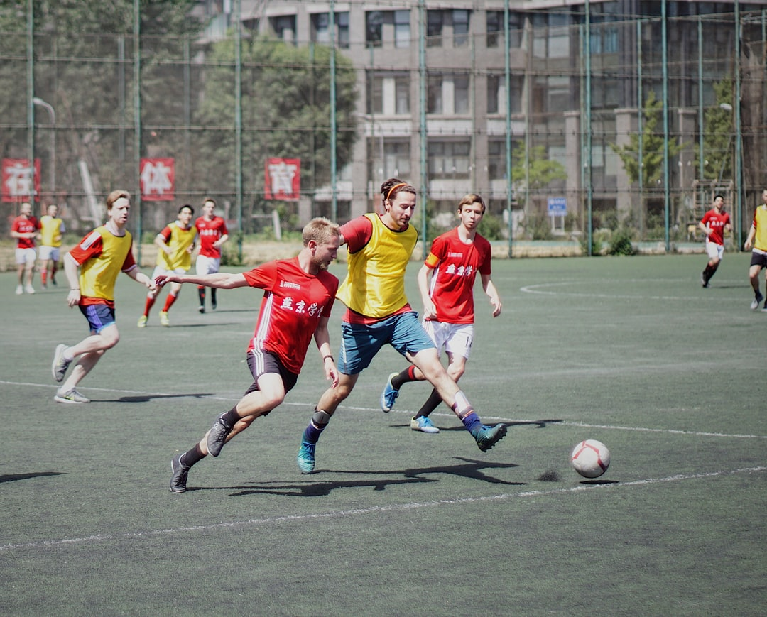 Soccer players playing