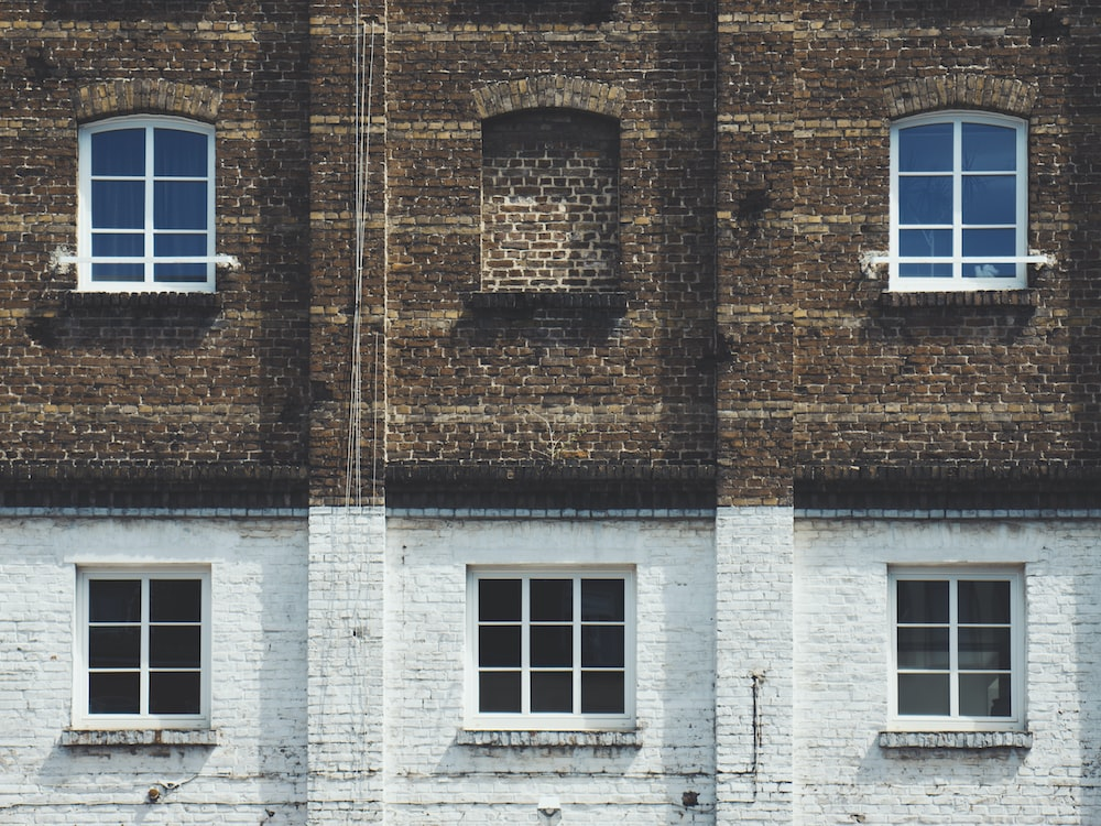 brown and white painted building