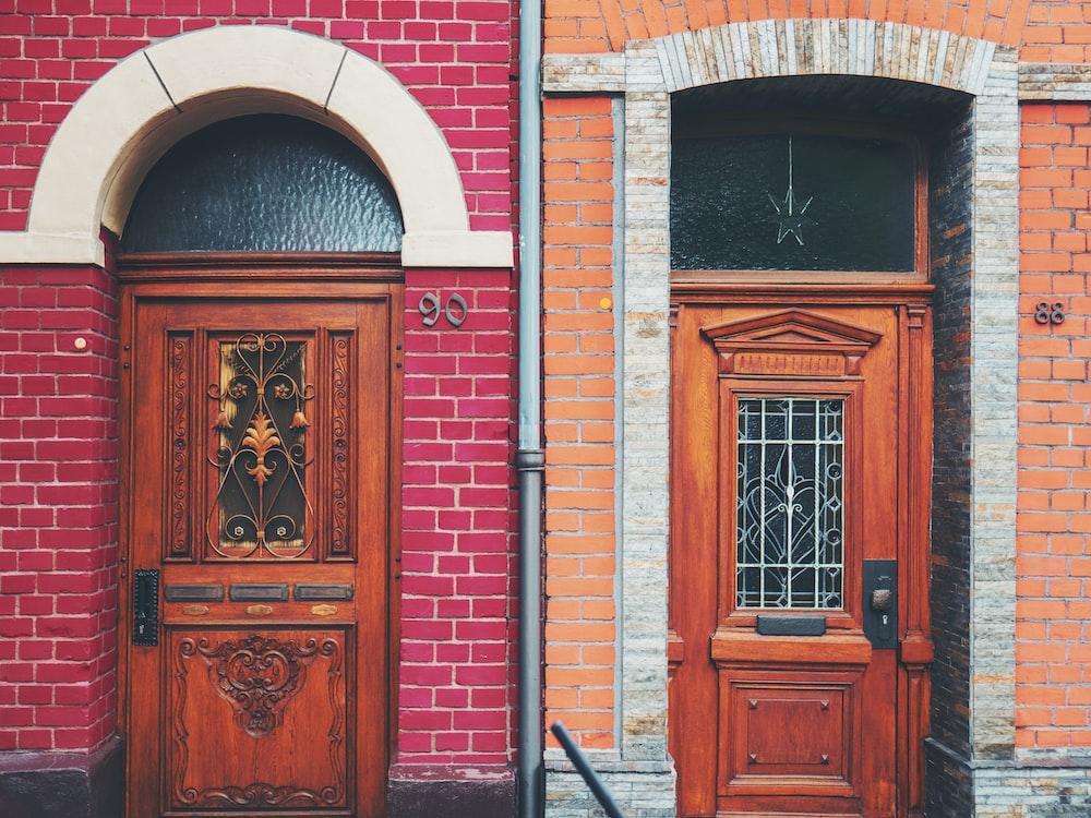 two brown wooden doors