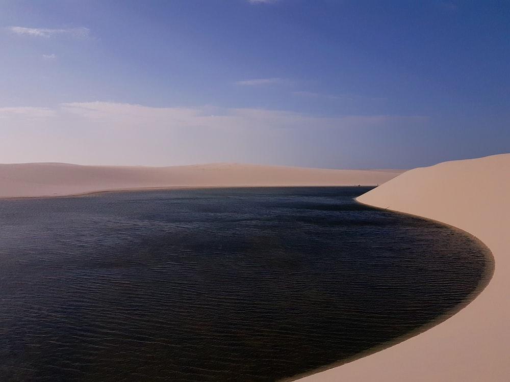 body of water beside sand
