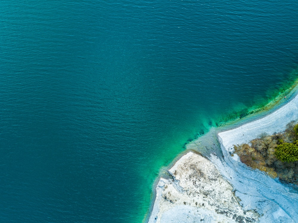 aerial photography of sea shoe