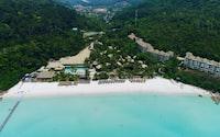 aerial view of beach shore