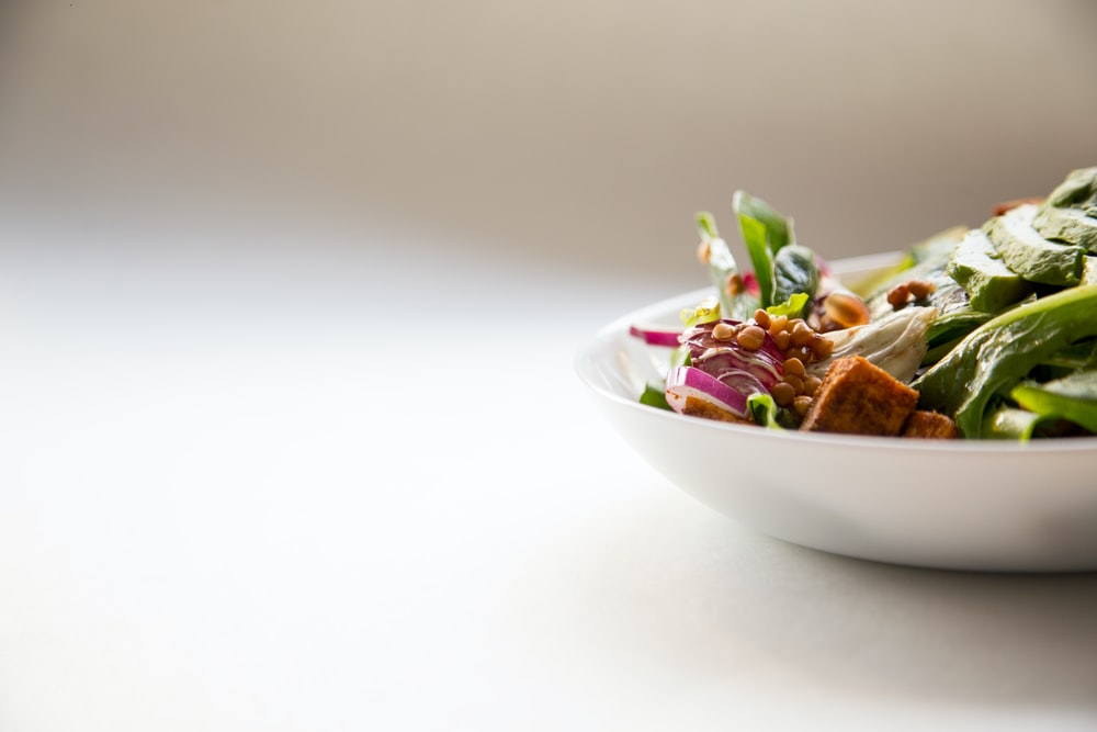 vegetable dish in white ceramic bowl