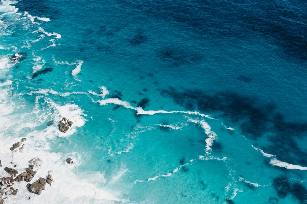 aerial view of seashore with stones