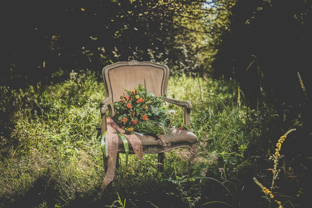 flower bouquet on armchair