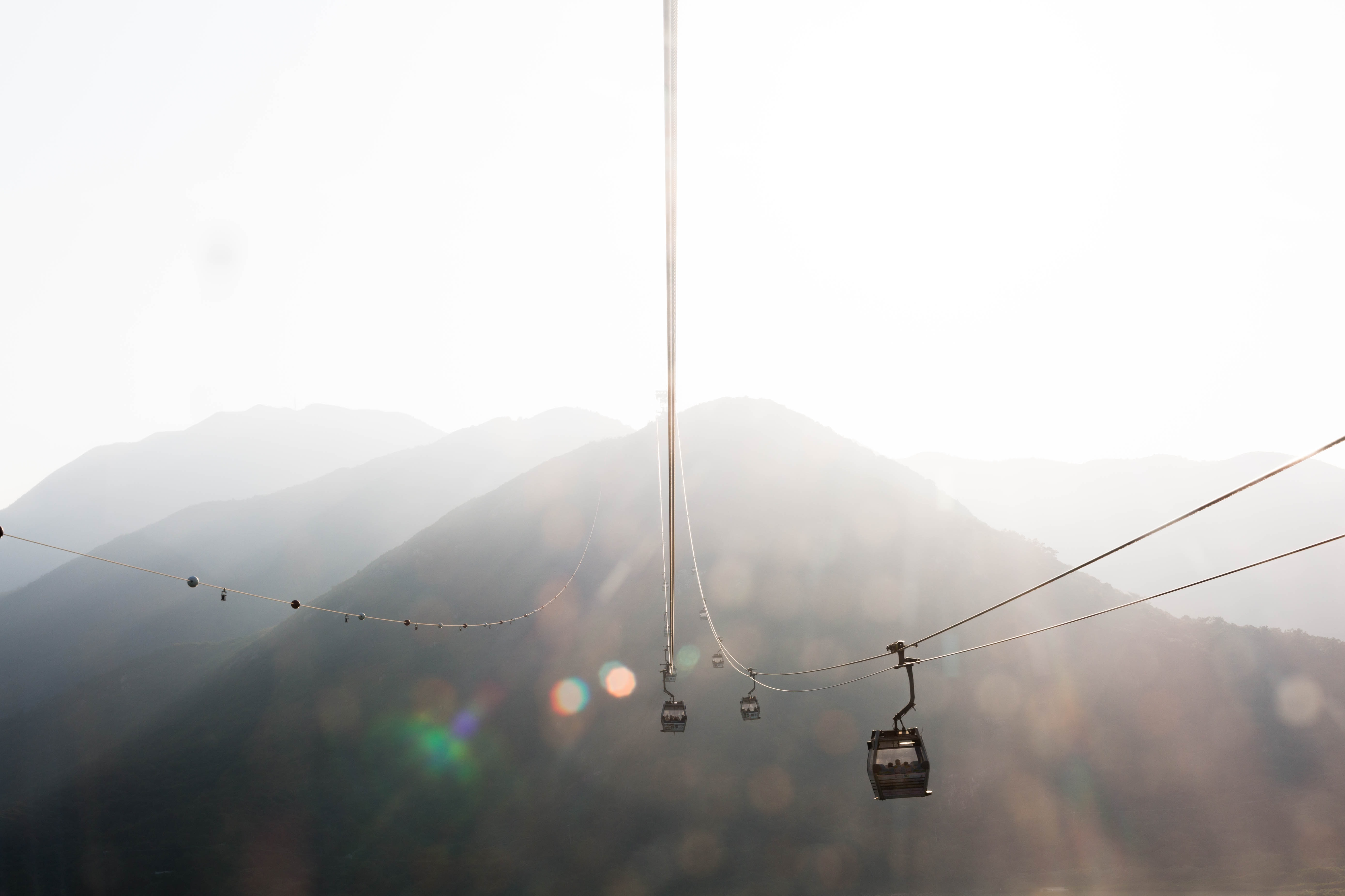 selective focus photo of cable car