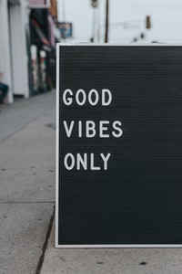 good vibes only text