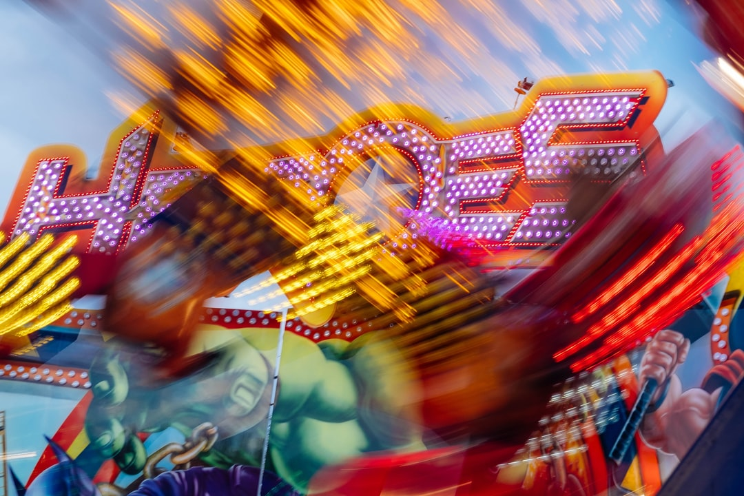 Every spring and autumn there is a fairground in Cologne at the rhine. I like to shoot the fairground rides with slow shutter speeds to bring out the lights of the fairground rides.